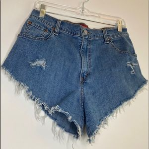 Levi's 550 High Waist Cut Off Jean Shorts